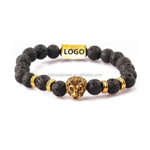natural stone beads jewelry lava volcanic custom logo lion bracelet men