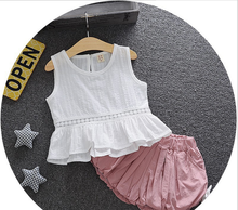 S80046B (Hot Selling) Wholesale 2017 Korean Style children sleeveless 100% cotton clothing sets