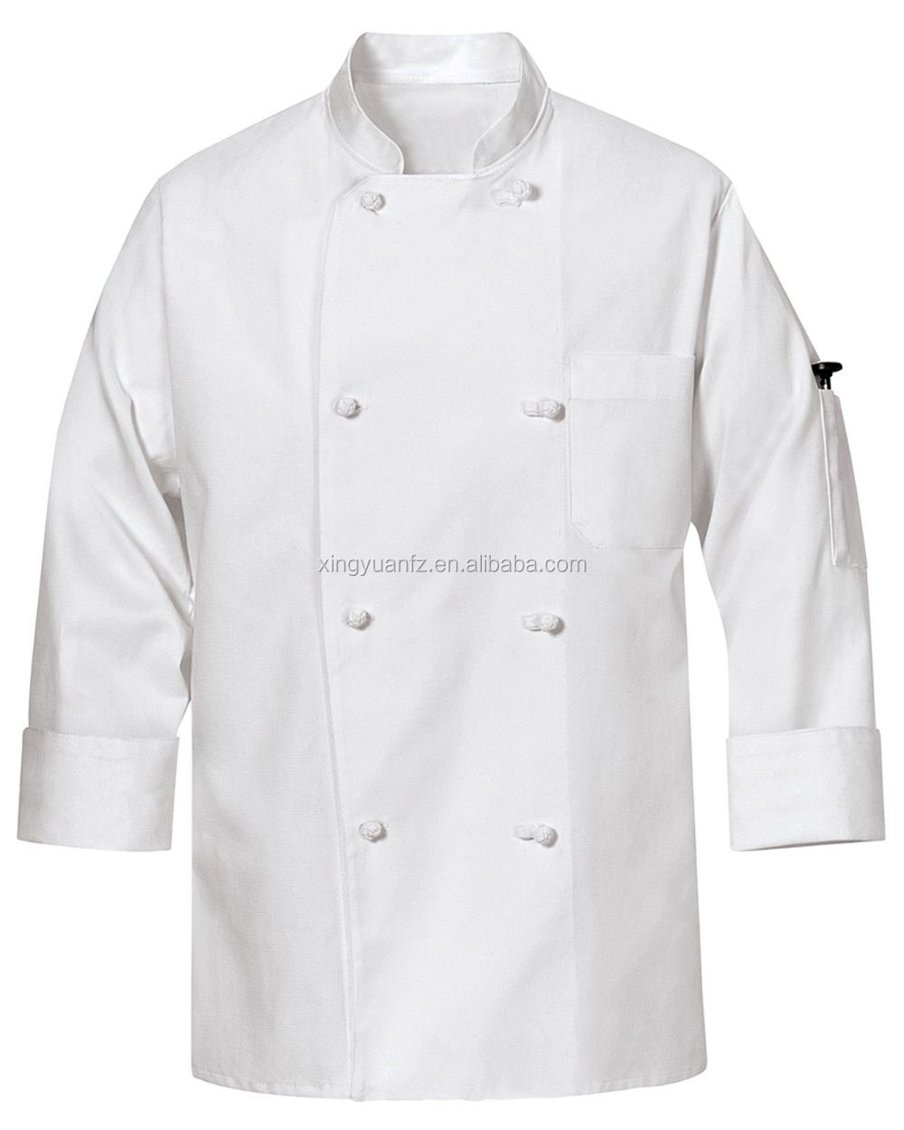 Sizing Chart With Common Left Chest Heart And Pocket: 100%cotton Twill White Short Sleeves Chef Coat/shirt