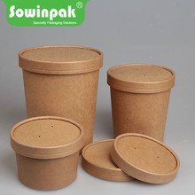 PE kraft paper hot soup packaging cups with paper lids price