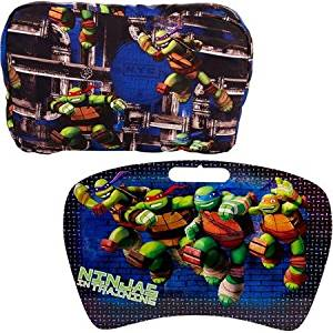 Bright and Colorful Lap Desk with Removable Pillow, Perfectly Adds Cheer or Character To Any Office Space or Student Room, (Teenage Mutant Ninja Turtles)