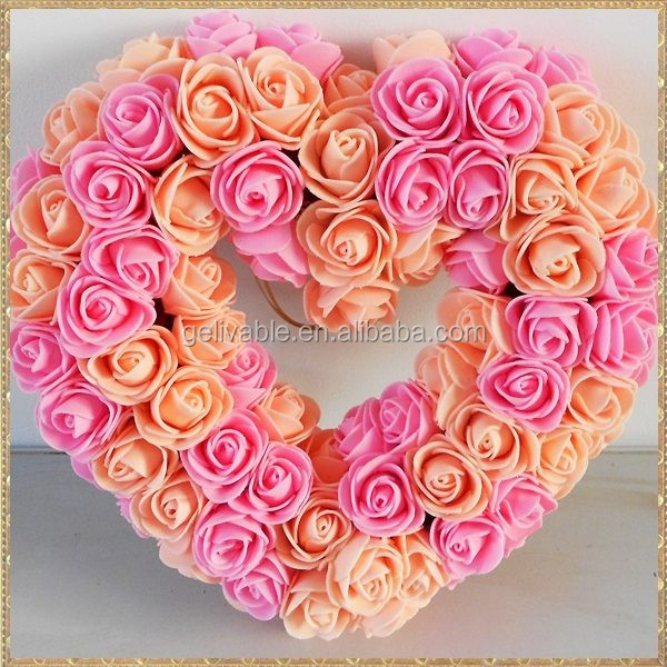 "2017 New Style 10"" Artificial PE Wedding Rose Hanging Heart Rose Flower Wreath"