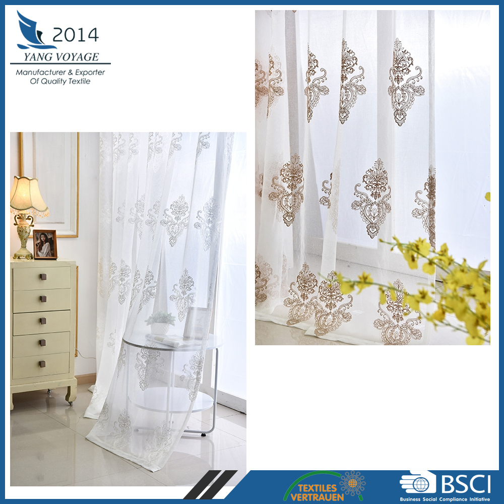 Damask embroidered curtain design 100% Polyester sheer portable curtain