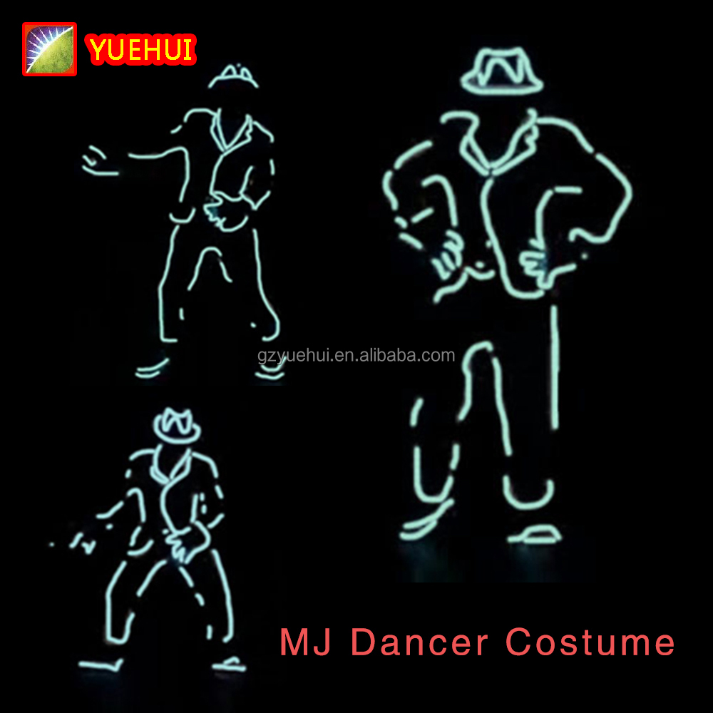 Nuovo Disegno Fantastic EL Wire Mike Jackson Dancer Costume di Scena Luci Al Neon Incandescente Led Strip Attraente Gala Festival di Mostra Suit