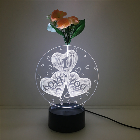 colorful Loving Heart shape Projector Laser Engraved Night Light Decorative For Holiday