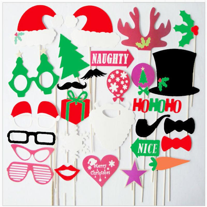 DIY Christmas Party Photo Props Santa Clause Paper Funny Masks Glasses New Year Christmas Party Supplies