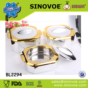 High-class Design SS 3pcs Hot Pot Casserole Set for Middle -east best selling food warmer