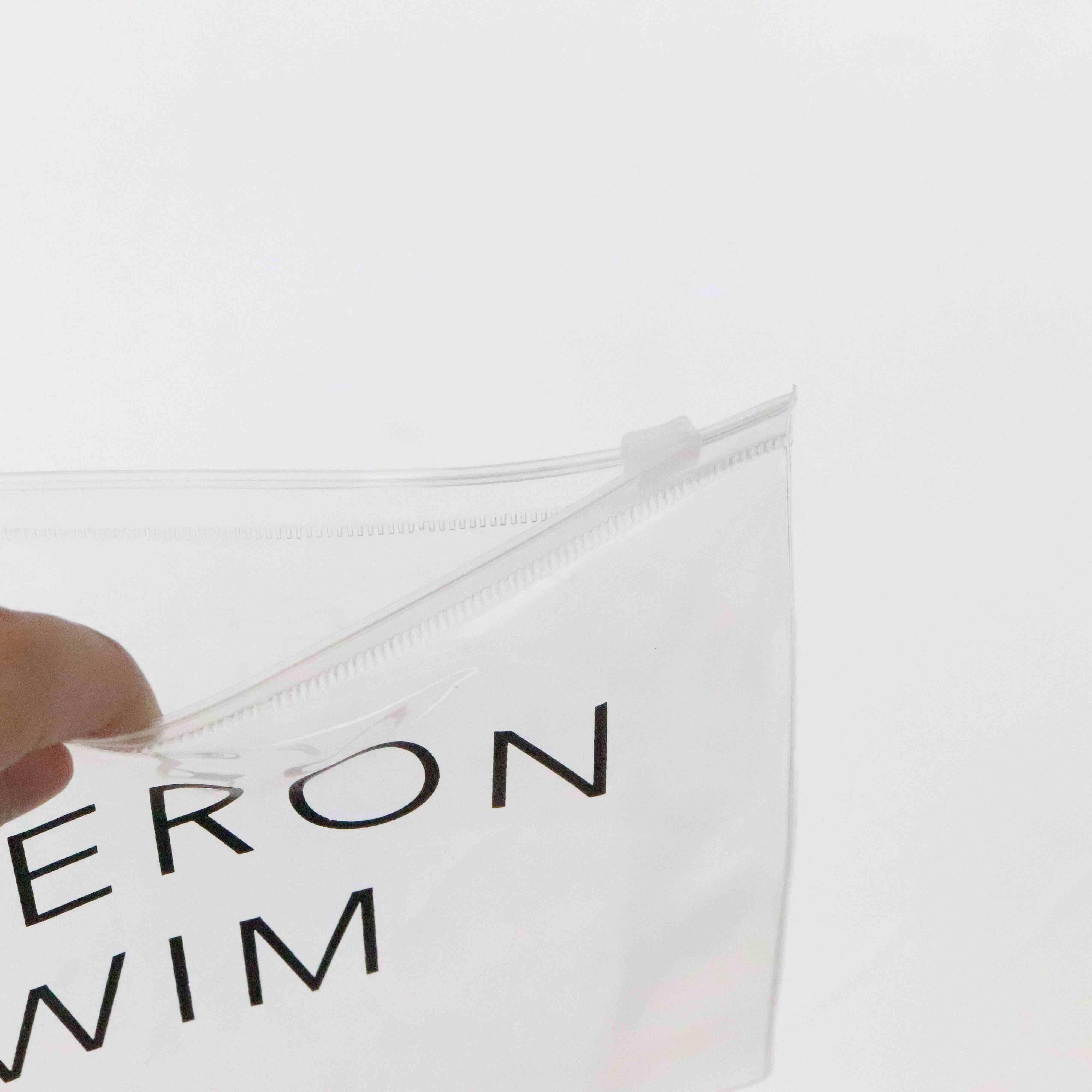 Kustom Transparan Buram Tas Ziplock, Pvc Biodegradable Baju Renang Pakaian Plastik Kosmetik Zipper Pouch