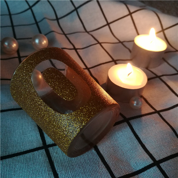 Cheap Bulk golden glitter gold glass jar candle holder