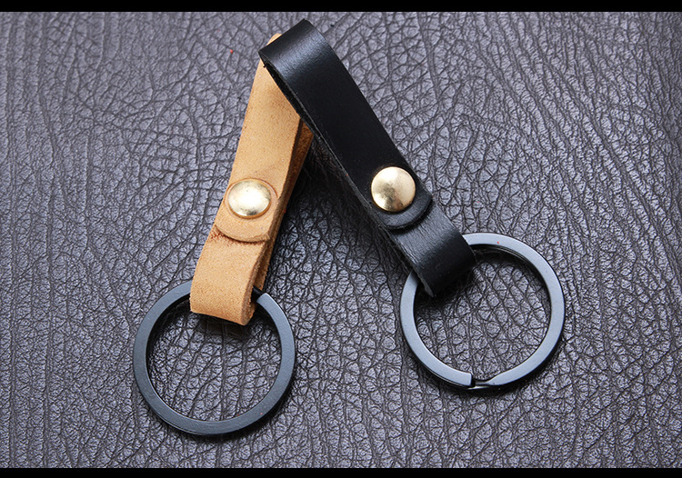 Custom high quality business gift genuine leather men keychain
