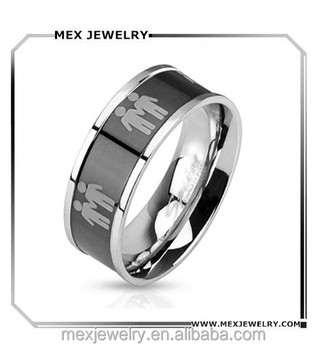 stainless steel two male symbols mens black center gay wedding ring - Gay Wedding Ring