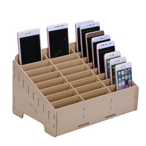 New design Wooden Box Storage with divided 24 sections phone stand desk organizer