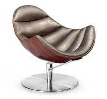 Modern Cute Egg Shape Leather Round Chaise Lounge Chair With footrest