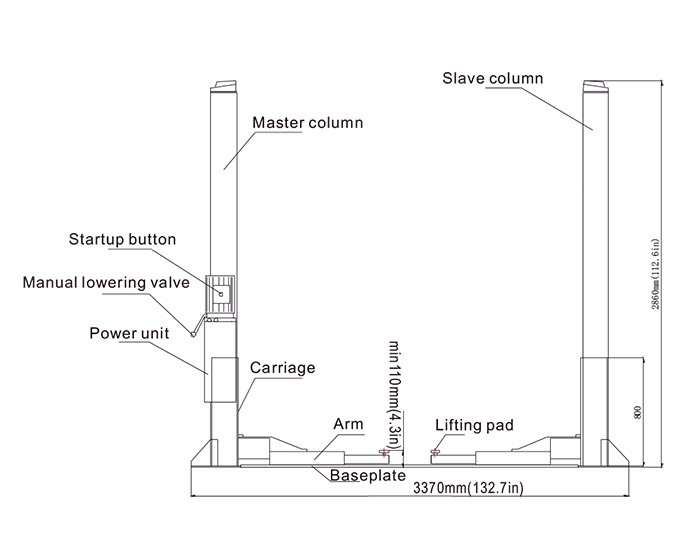 hydraulic 4000kg auto car lift 2 post two post car lift hydraulic car lift hydraulic schematic diagram hydraulic 4000kg auto car lift 2 post two post car lift hydraulic lift launch tlt240sb