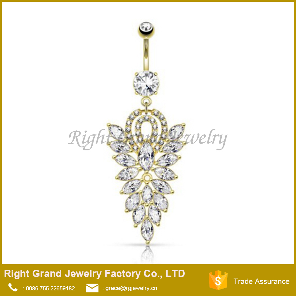 Fancy CZ Cluster Dangle Belly Button Ring / Surgical Steel Gold Plated Navel Ring