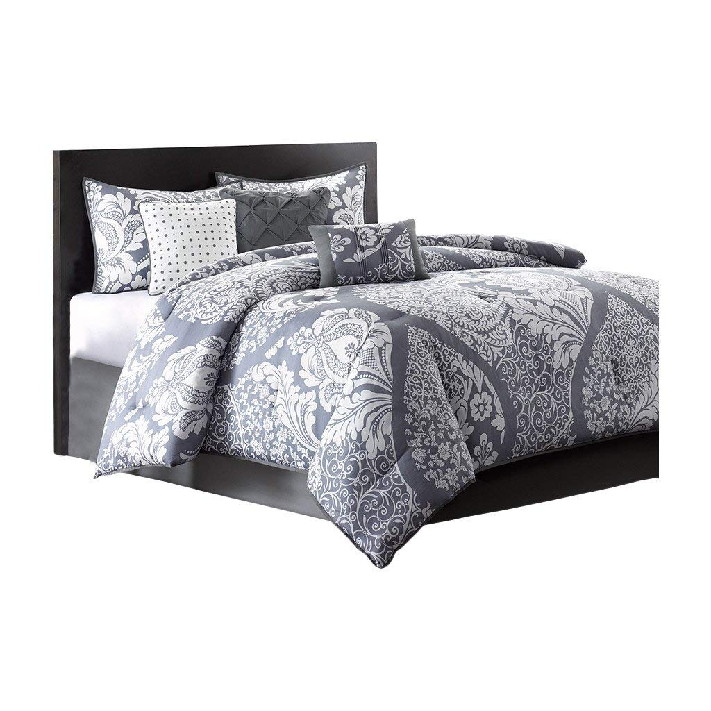 Queen Size Comforter Set in Modern Paisley Prints on Sale - 7 Piece, Purple Gray, 100% Cotton