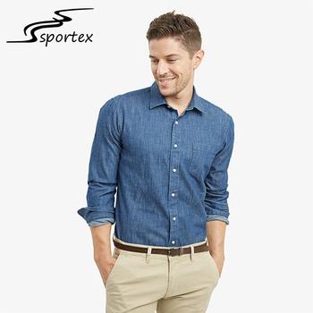 3a97f62369 Wholesale Latest Jeans Shirts Design Long Sleeve Plain Color Custom Washed  Denim Shirt For Men