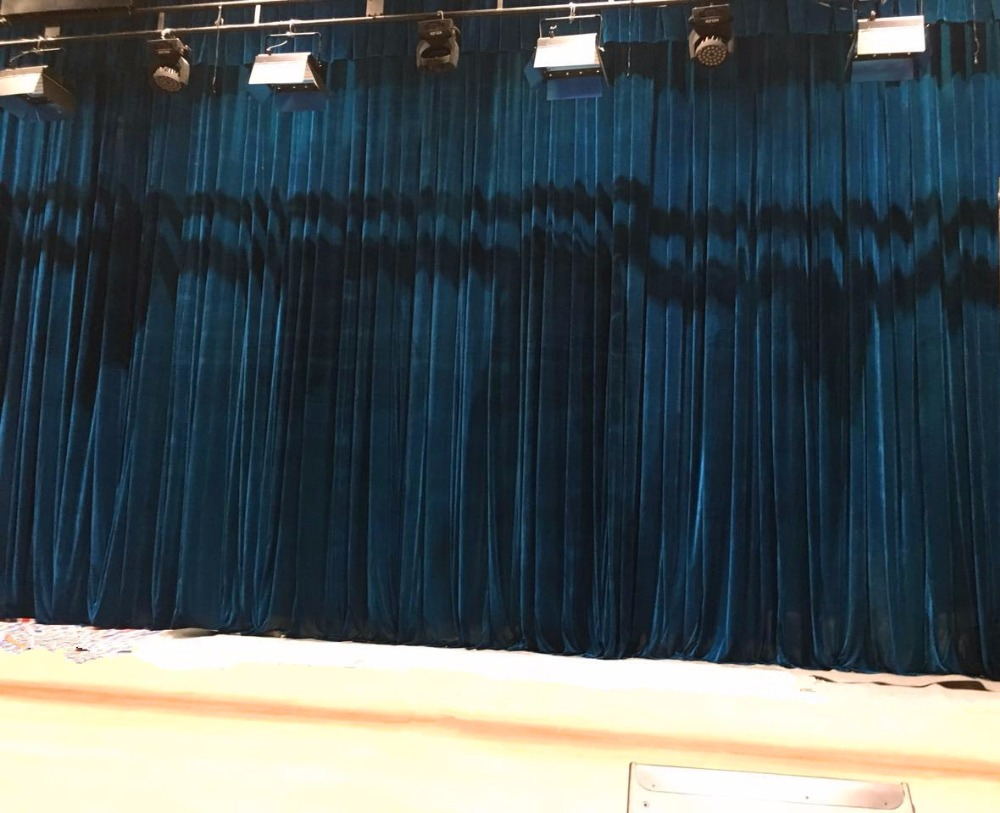 Electric Black Velvet Fire Retardant Stage Curtains Operate Remote Control