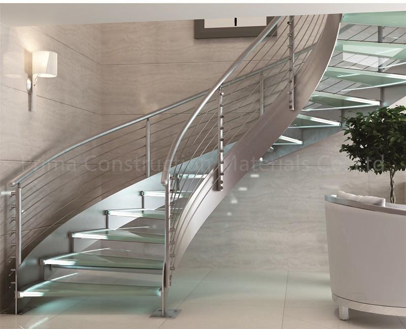 Morden Design Interior Carbon Steel Beam Glass Railing Curved
