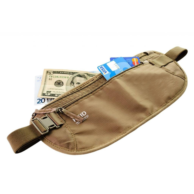 Rfid Blocking Security Travel Money Belt/waist Money Bag/waist ...