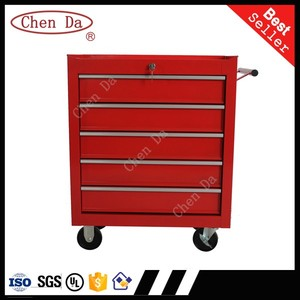 2016 new designed mobile 5 drawers tool cabinet/tool box/tool trolley with handle