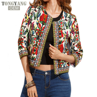 TONGYANG Embroidery Outerwear Winter Tribal Print Office Ladies Women Coats and Jackets Vintage Autumn Long Sleeve Short Jacket