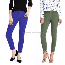 OEM Wholesale Women Fashion Pencil Tight Elastic Pants Sloan-Fit Solid Ankle Pants