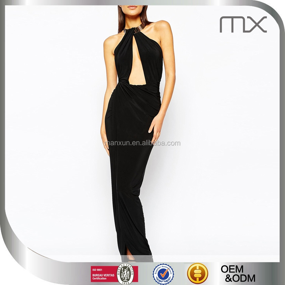 Club fishtail maxi dres full length party dress female sexy night dress sexy spandex club dress with metal necklace