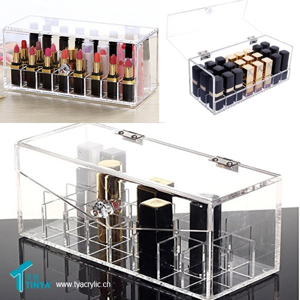 wholesale Beauty shopping Acrylic Combination Lip Organizer 24 space Large Lip Gloss Holder 24 Space Storage Beauty Care Holder