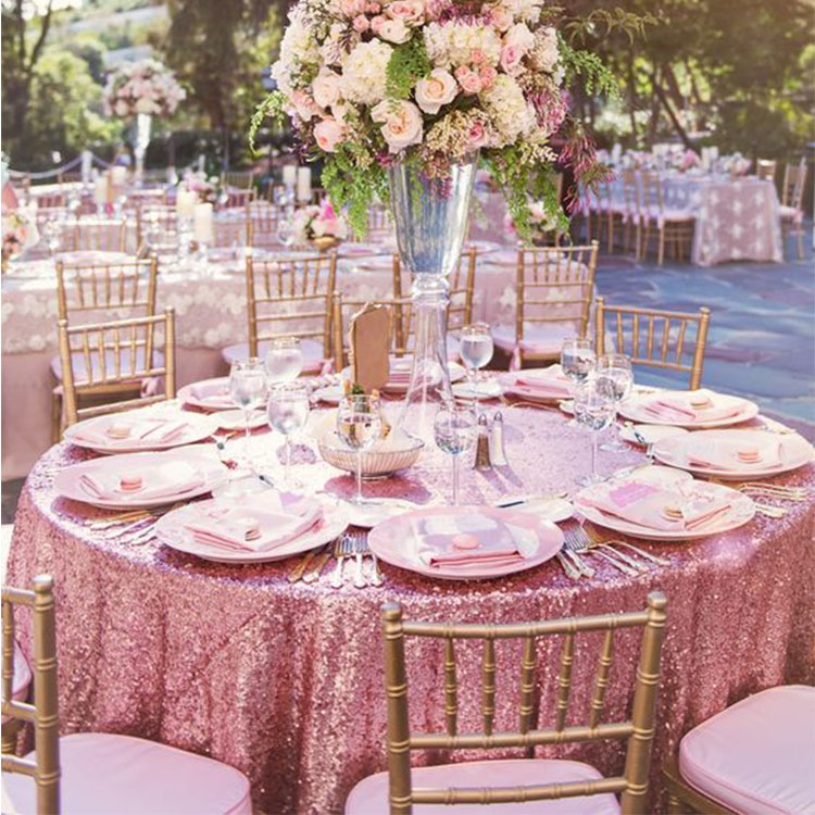 100% Polyester good quality party wedding banquet christmas 120 inch glitter rose gold round sequin tablecloth