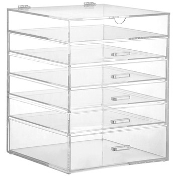 Amazon Top Seller 2020 Hinged Lid Clear Acrylic Cosmetic Cube Organizer Drawer/Large 6 Tier 5 Drawers Acrylic Makeup Storage Box