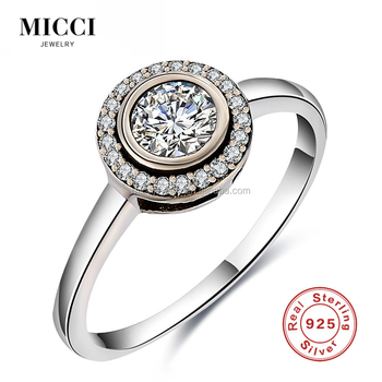 Custom 925 Silver Sterling Cz Ring Jewelry Design 14k White Gold Price 1 Carat Round