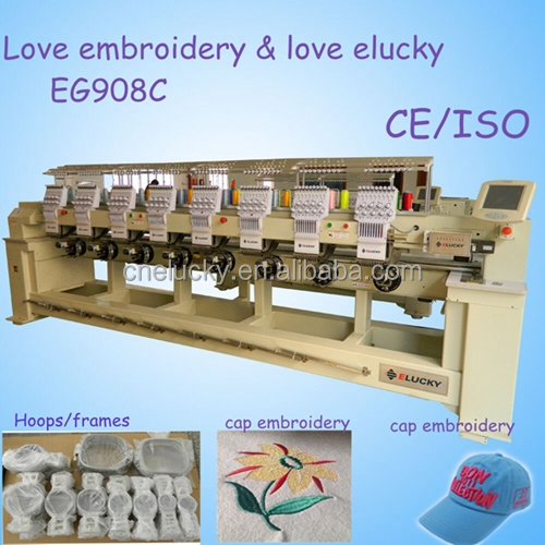 Elucky new heads bead embroidery machine with