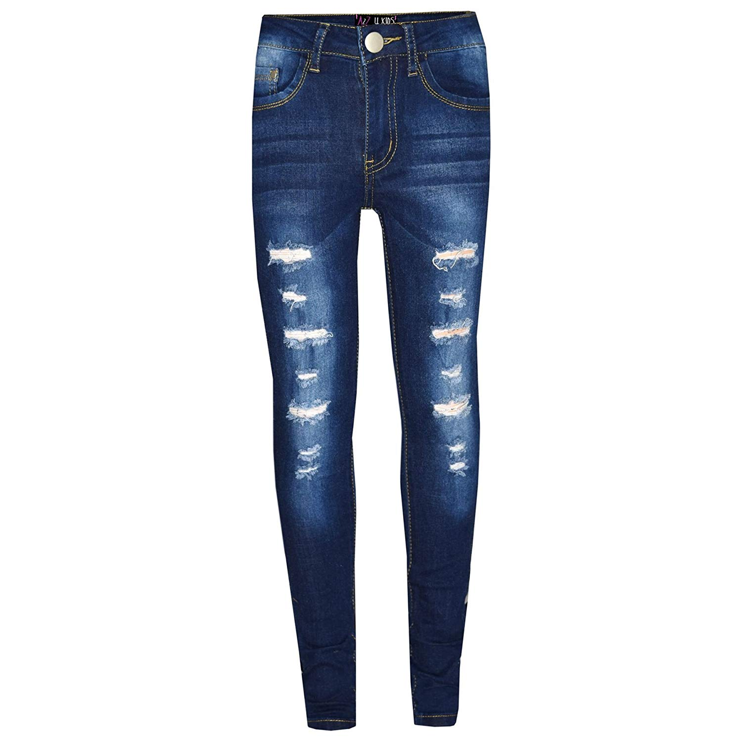 bb952b08e639f Get Quotations · Kids Girls Skinny Jeans Denim Ripped Stretchy Pants  Jeggings New Age 3-13 Years