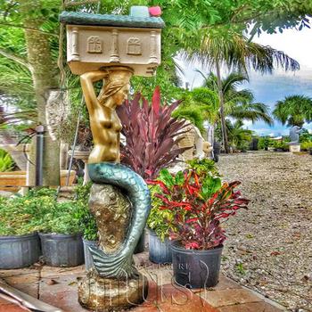 Outdoor Decor Sculpture Mermaid Mailbox Bronze Statue