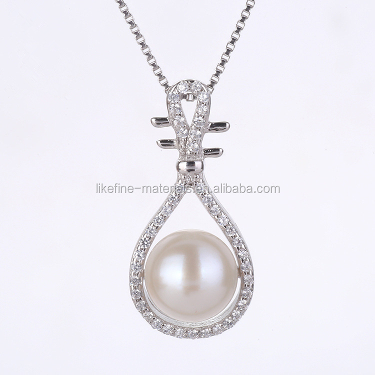 Chinese style antique 925 silver charms pendants with pearl