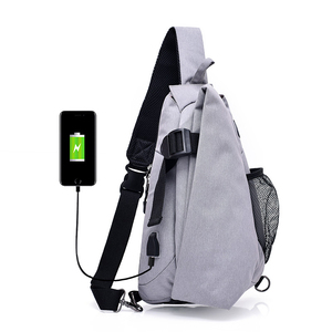 unique design card pocket headset jack usb charging dacron men outdoor sling chest bag
