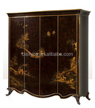Antiken Lack Holz Vier Kleiderschrankretro Golden Bemalt Schrank