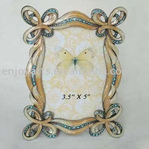 Wave Photo Frame with Blue Gems
