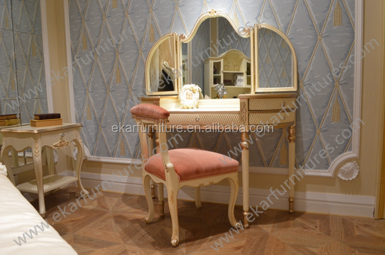 Princess Style French White Girls Dressing Table Chair kids dressing table