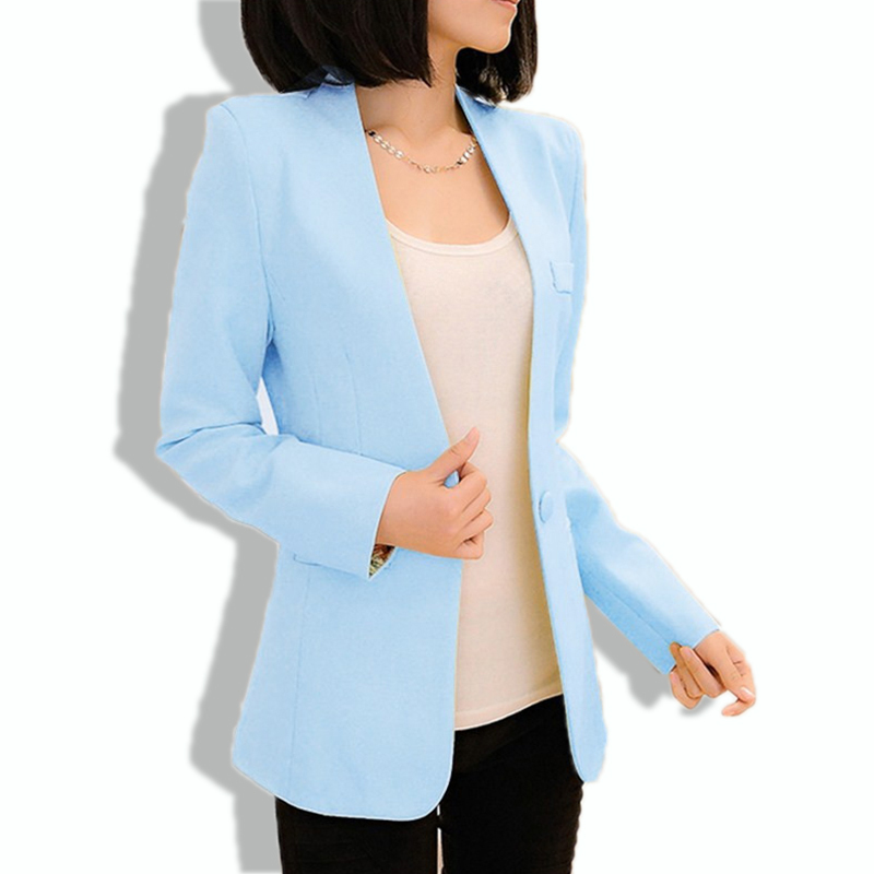 eccbe444283 Get Quotations · Autumn Women New Solid Floral Full Sleeve Formal Blazers  2015 Ladies Brief Slim One Button Office