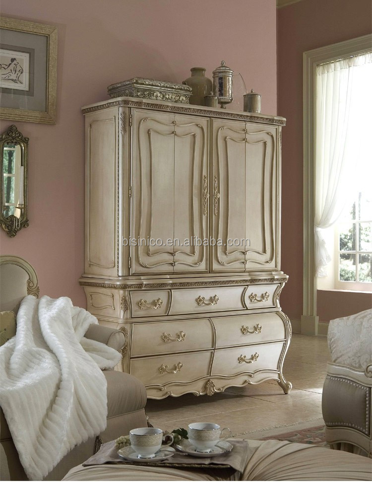 French Style Solid Wood Antique Finishing White Color