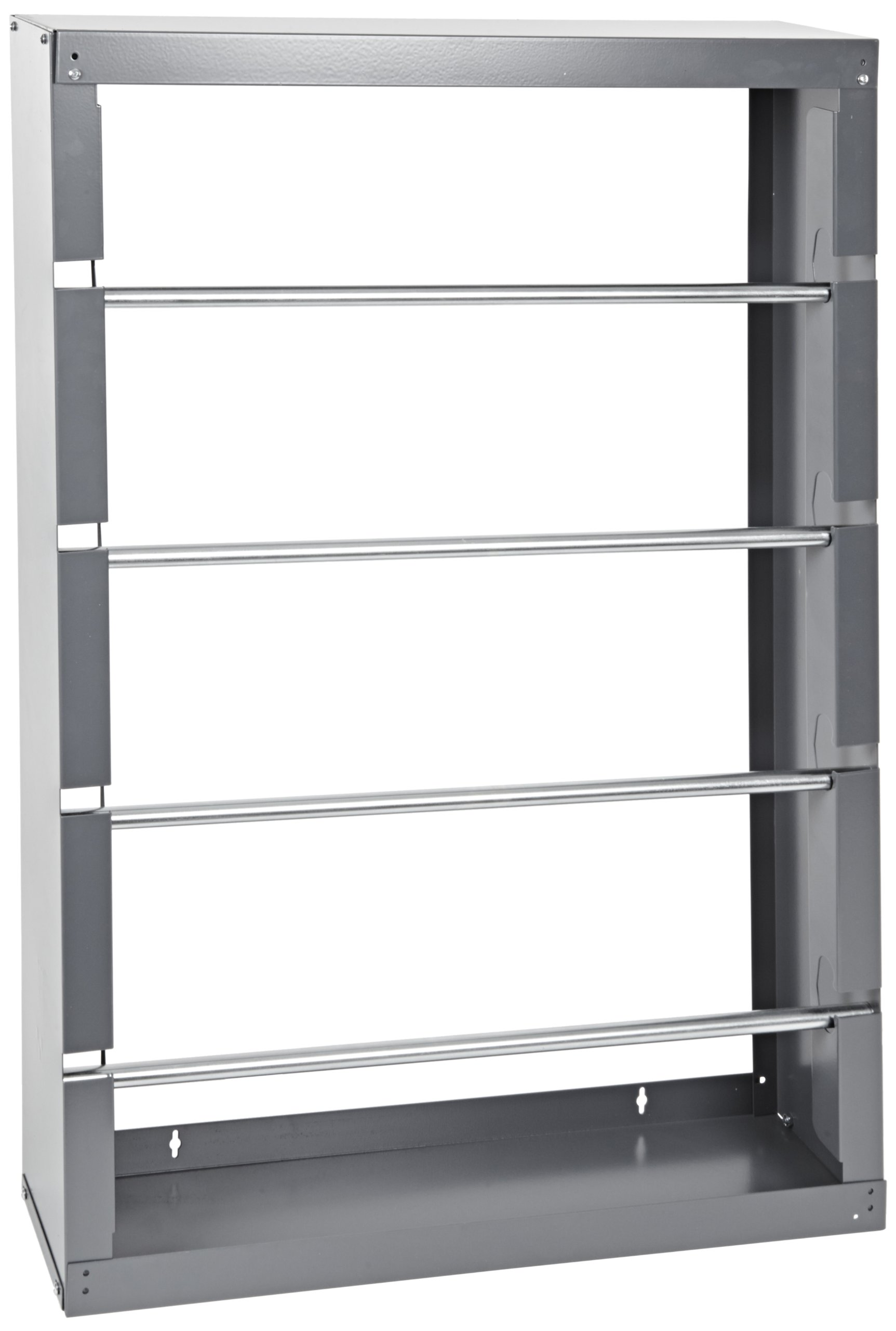 "Durham 368-95 Gray Cold-Rolled Steel Wire Spool Rack with 4 Rods, 26-1/8"" Width x 37-1/8"" Height x 6"" Depth"