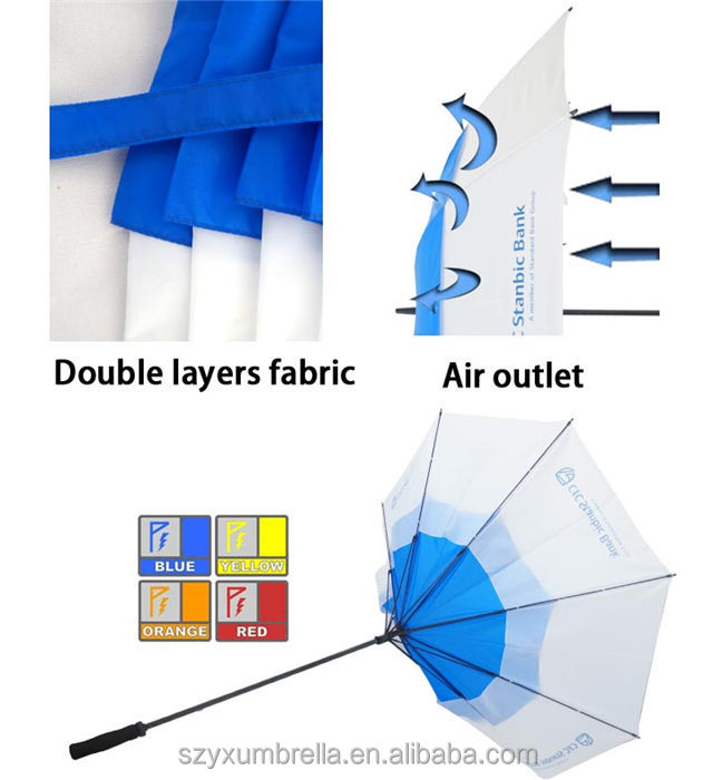 Double Canopy Windproof Golf Umbrella with Vented holes Material and Umbrellas Type High Quality Windproof Golf Umbrella