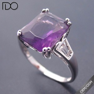 Amethyst Zircon Engagement Rings White Gold Plating Fashion Jewelry