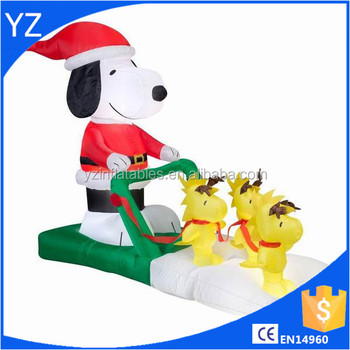 snoopy woodstock sleigh christmas inflatable