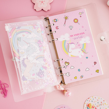 Wholesale custom design printing cute pink girl unicorn journal school student blank notebook for kids