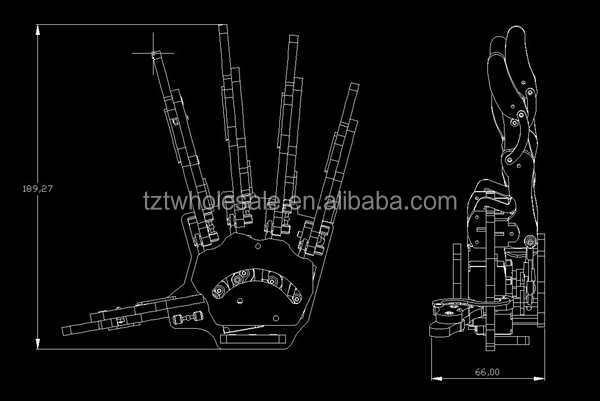 Robot Palm Humanoid Manipulator Five Fingers Anthropomorphic Left Hand w// Servo