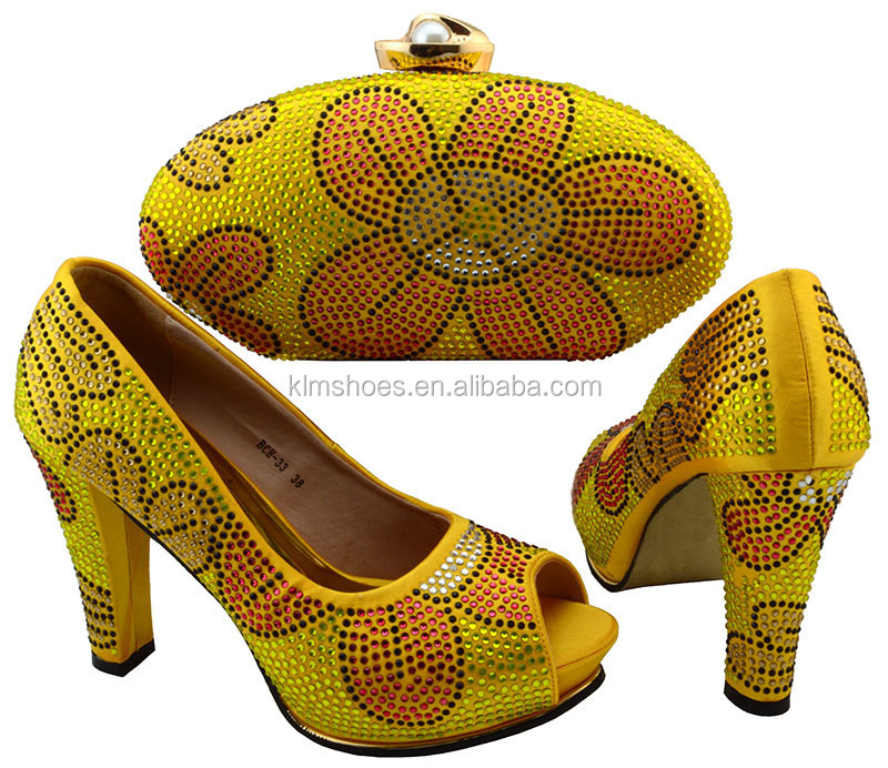 To For Heels 33 High Party Yellow Shoe African Bag Evening Set And And Match BCH Shoes Fashion Bag Style Bag Shoes And Summer qU4Sc4af