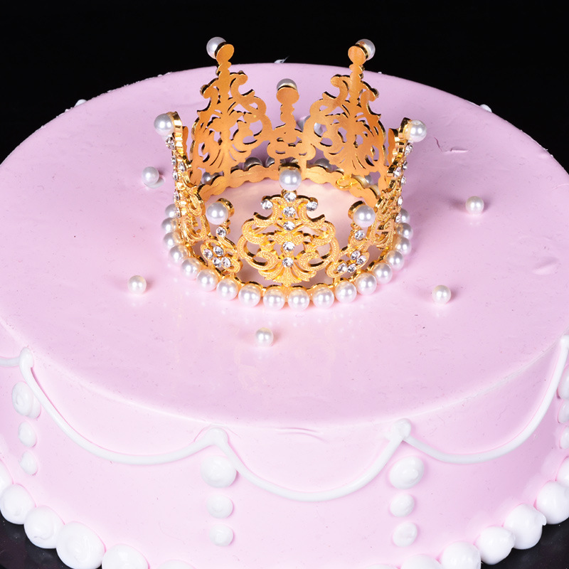 Wholesale hair accessories crystal rhinestone pearl cake crown kids birthday tiara